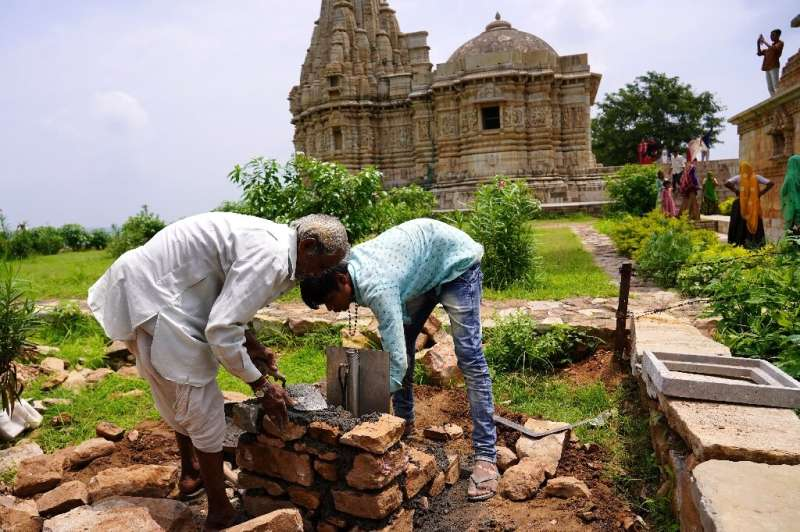 In Chittorgarh, a lightning bolt struck a tower and sent a huge chunk of stone plummeting to the ground