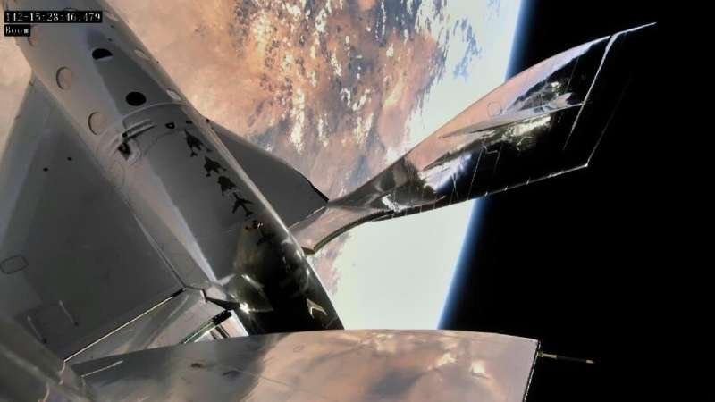 In this handout photo provided by Virgin Galactic on June 22, 2021, the VSS Unity is seen in space over New Mexico