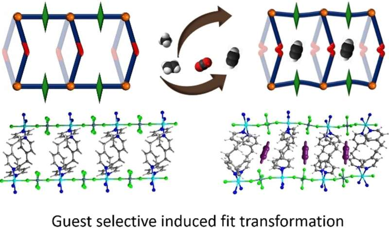 Induced-fit adsorbent for acetylene