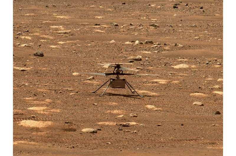 Ingenuity as seen on Mars on April 7, 2021 in a photo taken by the rover Perseverance