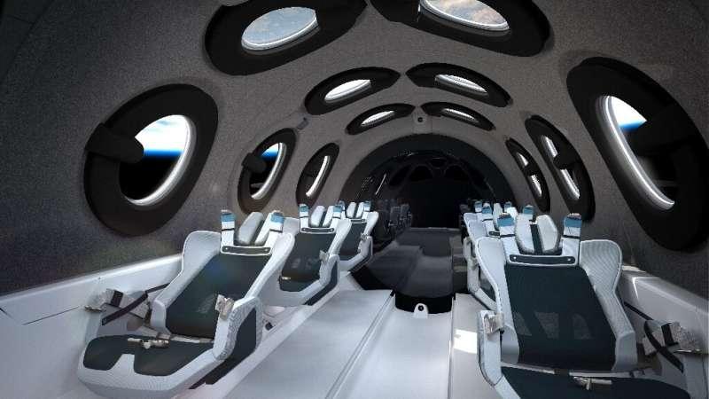 Inside the cabin of Virgin Galactic's spaceship
