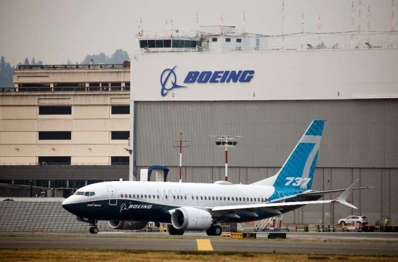 In this file photo taken on September 30, 2020 a Boeing 737 MAX airliner piloted by Federal Aviation Administration (FAA) Admini