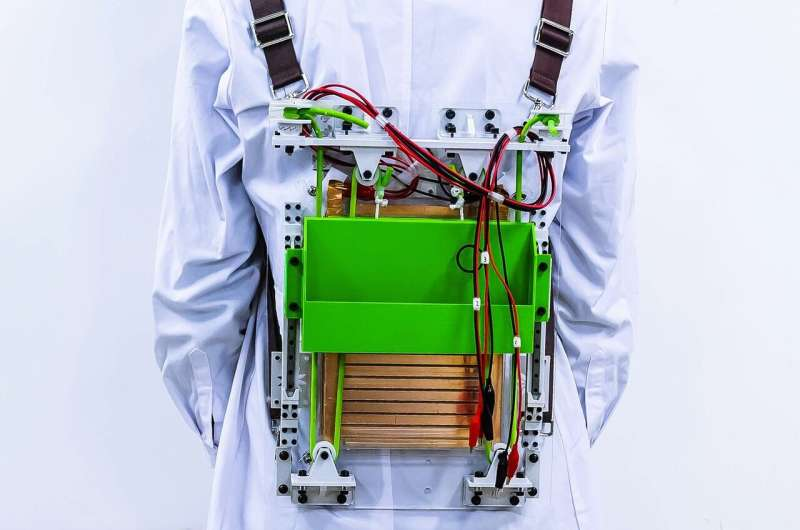 Load-reducing backpack powers electronics by harvesting energy from walking