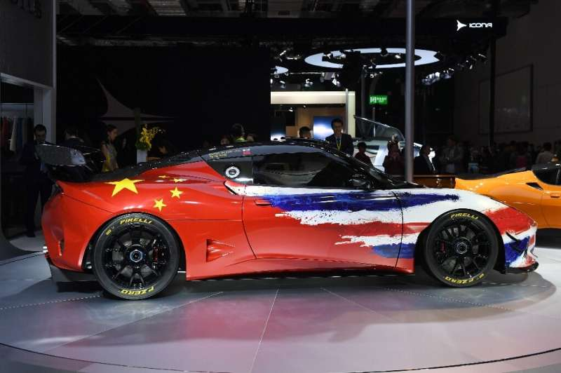 Lotus is owned by Chinse automotive giant Geely, and a Lotus Evora GT4 was painted in the colours of the British and Chinese fla
