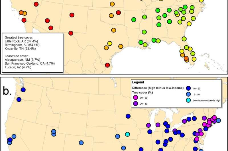 Low-income blocks in 92% of US urban communities have less tree cover and are hotter