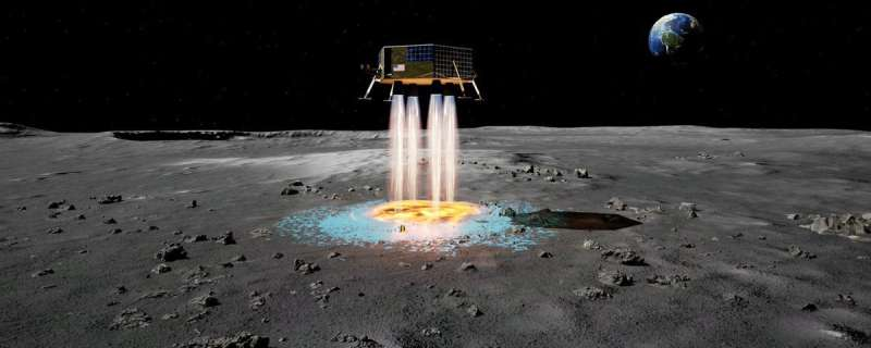 Lunar landers could spray instant landing pads as they arrive at the moon