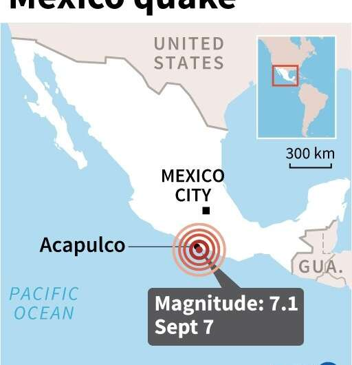 Map locating a 7.1-magnitude earthquake which struck southern Mexico on September 7, 2021