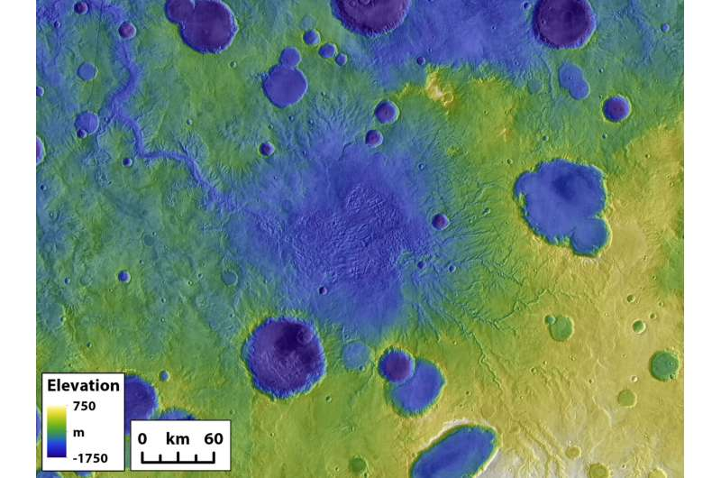 Mars' surface shaped by fast and furious floods from overflowing craters