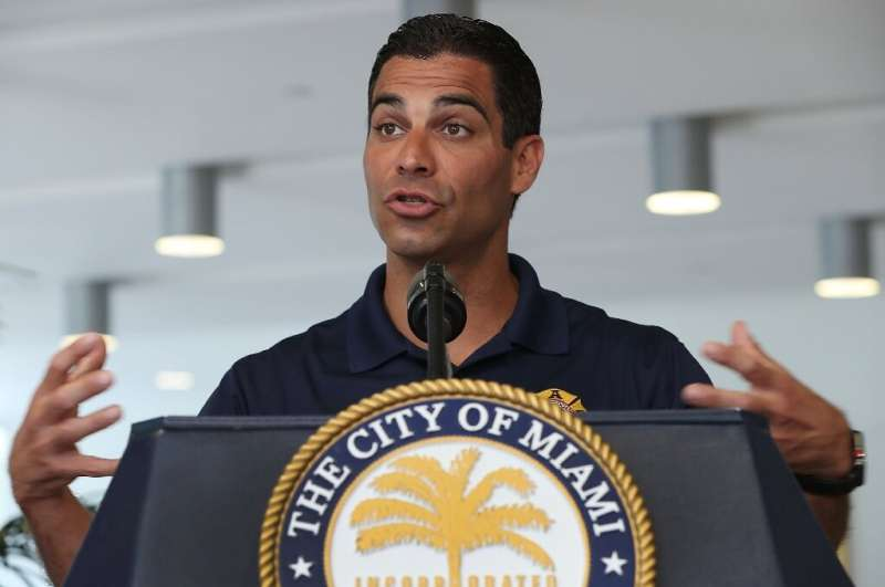 Miami Mayor Francis Suarez, seen speaking to reporters on May 29, 2019, is pushing hard to make his Florida city a major technol