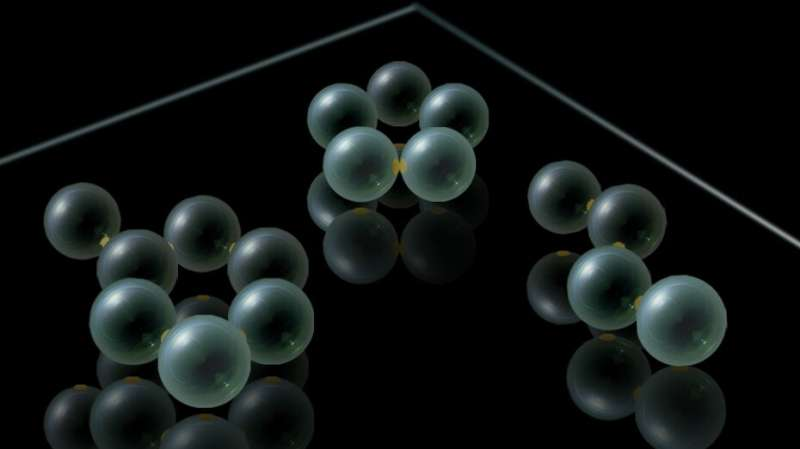Micrometre-size molecular modelling kit shows real chemical reactions