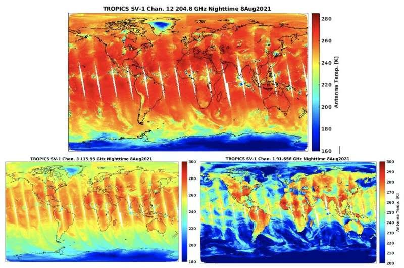 NASA's TROPICS Pathfinder satellite produces global first light images and captures Hurricane Ida