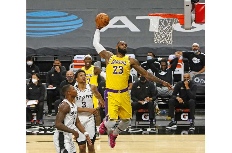 National Basketball Association superstar LeBron James seen during a game in San Antonio, Texas, on December 30, 2020