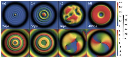 New mechanism found for generating giant vortices in quantum fluids of light