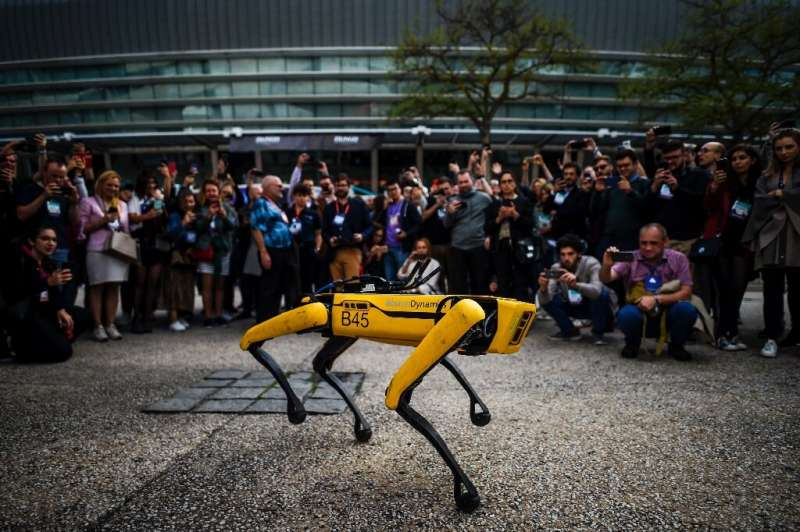 One of Boston Dynamics' robotic dogs in Lisbon during a tech summit in November 2019