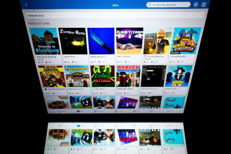 Online gaming service Roblox displayed on a tablet screen on February 1, 2019