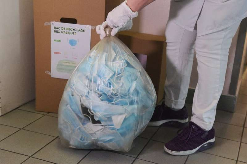 Parisian hospitals have been collecting masks in special bins for recycling