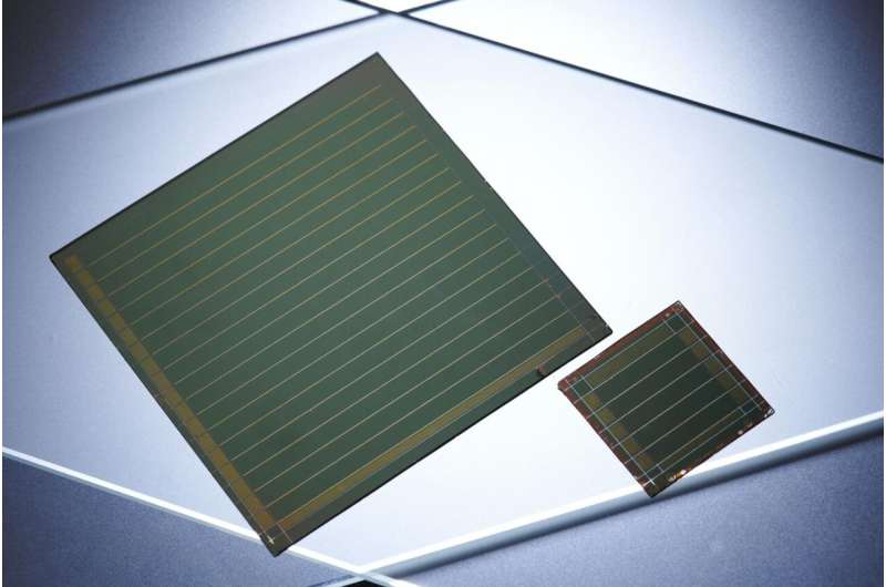 Perovskite solar modules: High efficiency on a large surface area