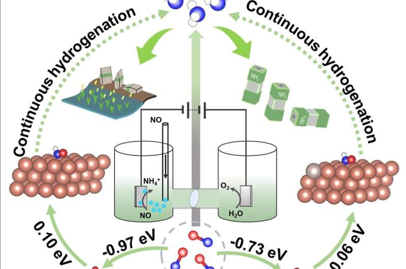 Promoting nitric oxide electroreduction to ammonia over electron-rich Cu modulated by Ru doping