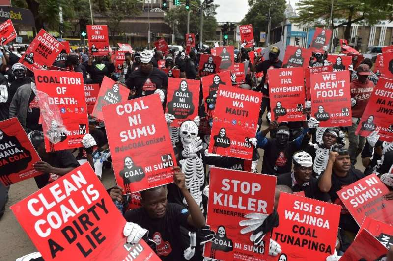"""""""Clean Coal Is a Dirty Lie"""": A 2018 Nairobi protest against a Kenyan government plan to mine coal near the pristine is"""