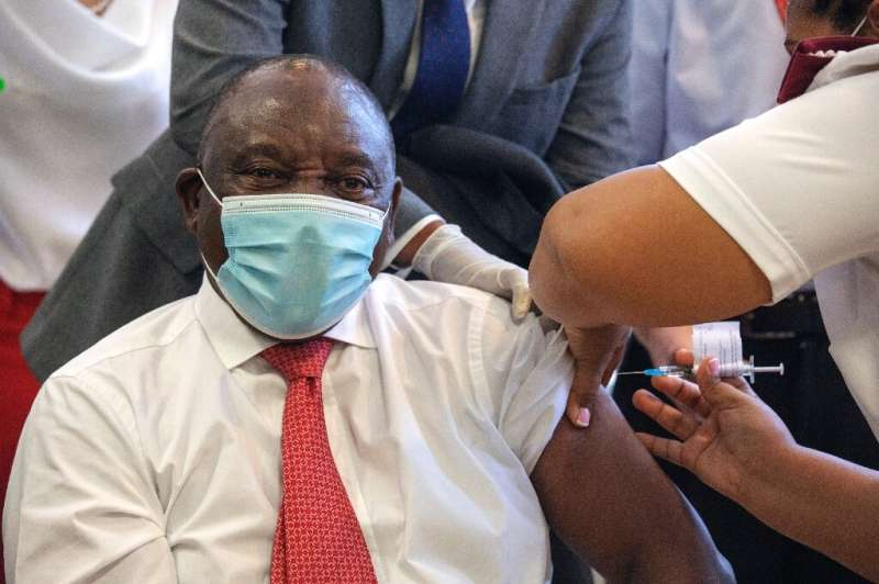 Ramaphosa received his own first Covid-19 vaccine dose in February