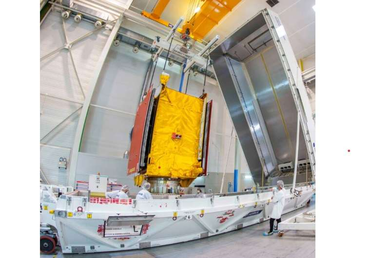 Reprogrammable satellite shipped to launch site