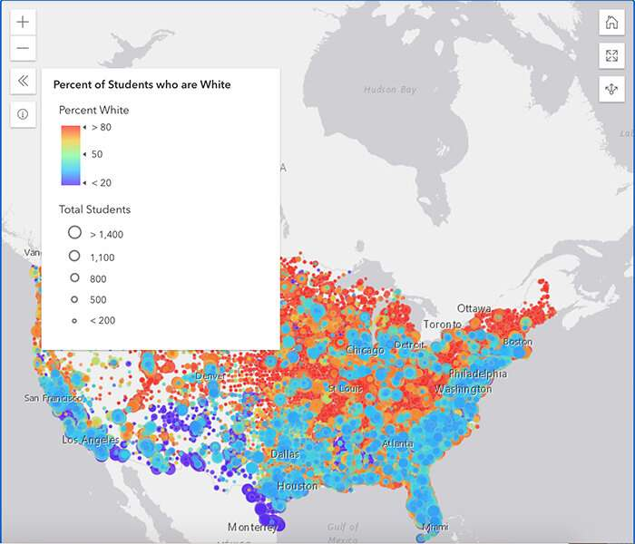 Researcher develops website featuring maps of school segregation across US to help spur research