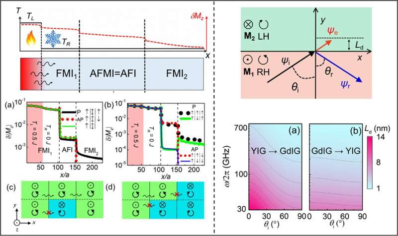 Researchers show magnon blocking effect and magnonic skin effect in antiferromagnetically coupled heterojunction