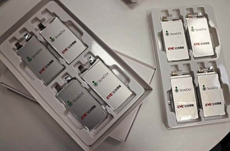 Samples of fast-charging batteries on display at the Israeli start-up StoreDot headquarters