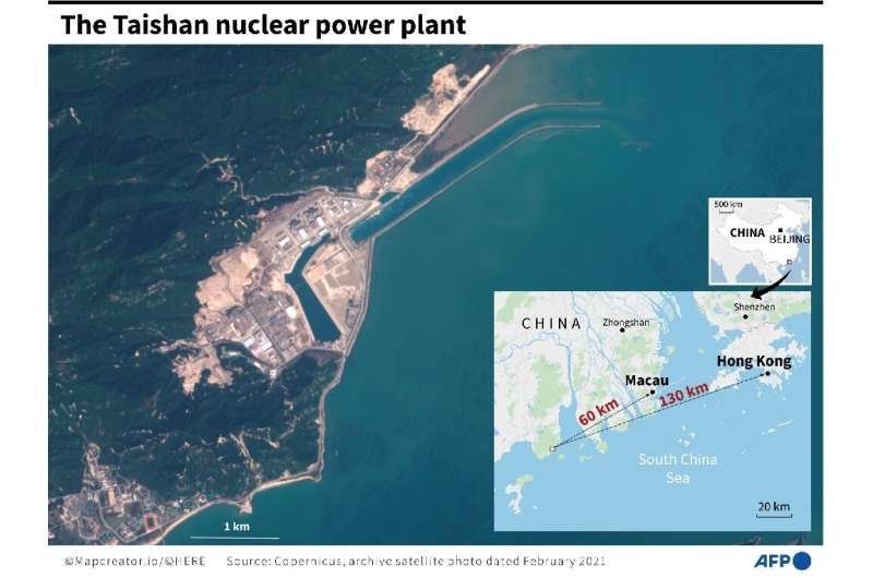 Satellite photo of the Taishan nuclear power plant in China