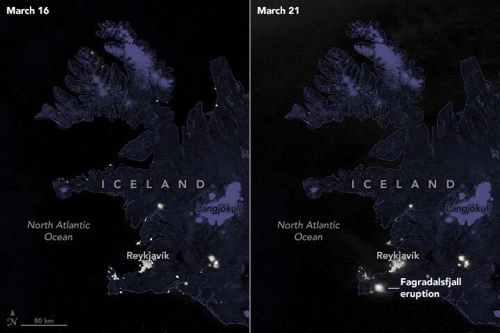 Seen from space, Iceland's new volcano lights up the island at night