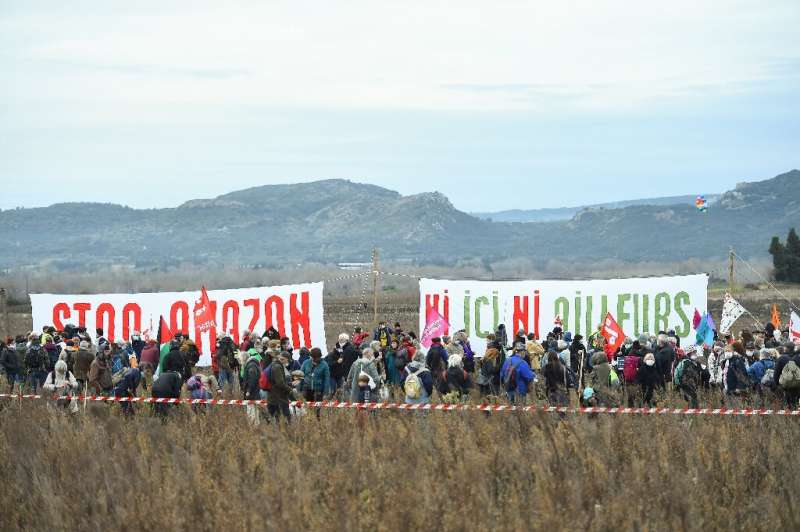 Several hundred joined the protest at the site of the planned warehouse at Fournes