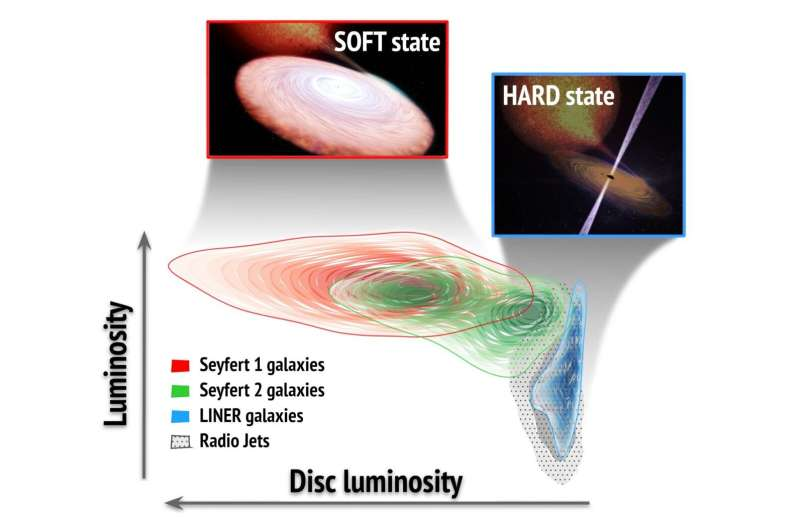 Similar states of activity identified in supermassive and stellar mass black holes