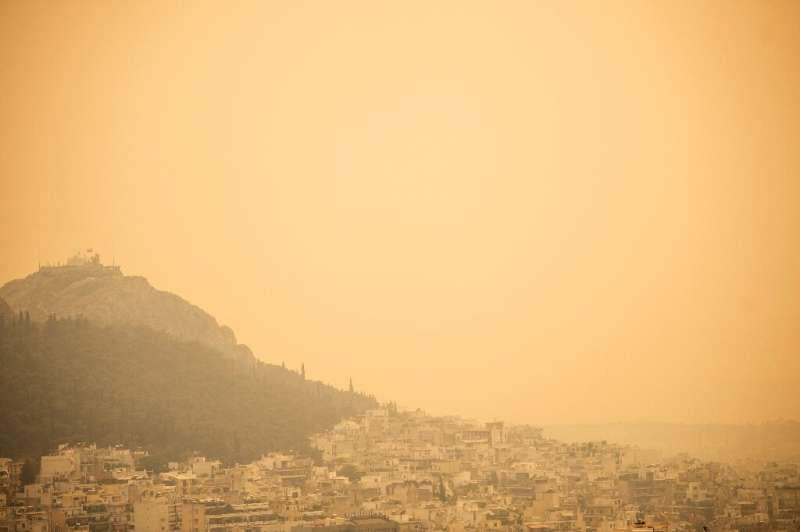 Smoke has blanketed the Greek capital Athens and reached as far as the island of Ikaria