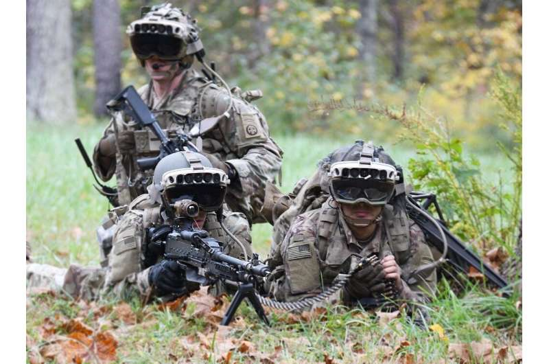 Soldiers from the 82nd Airborne Division use the latest prototype of the Integrated Visual Augmentation System (IVAS) during a t