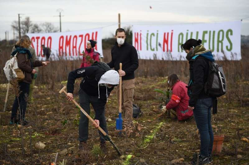 Some protesters planted shrubs in the waste ground at the Fournes site