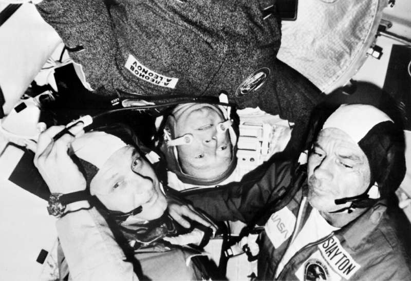 Soviet astronaut Alexei Leonov (C) during the 1975 Apollo-Soyuz mission