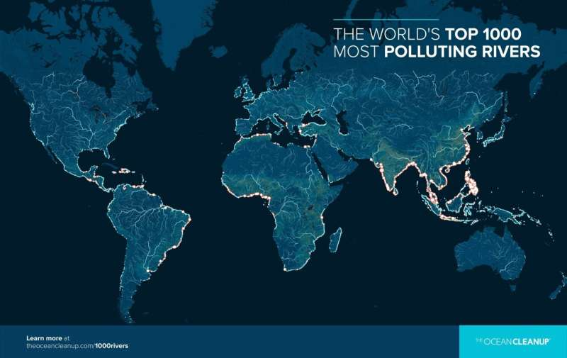 The 1000 rivers contributing the most to ocean plastics