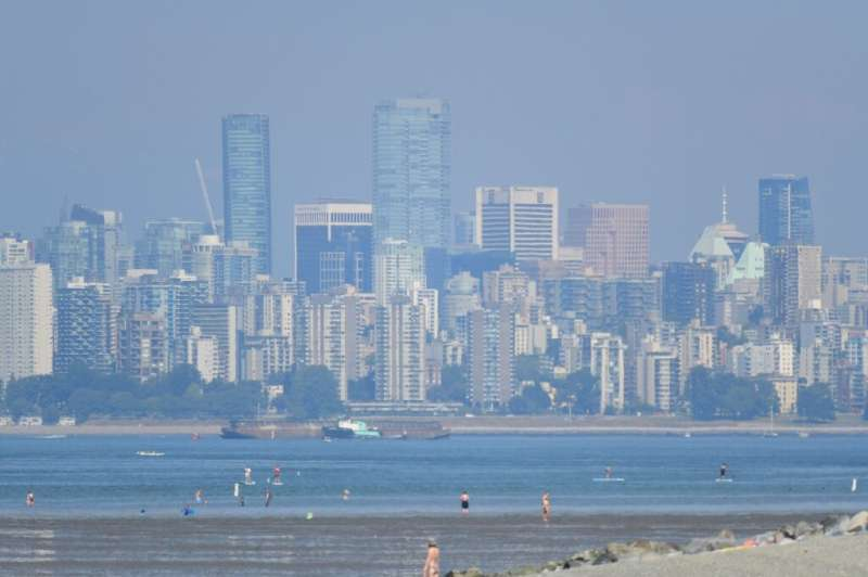 The city of Vancouver, British Columbia, is seen through a haze on a scorching hot day, June 29, 2021
