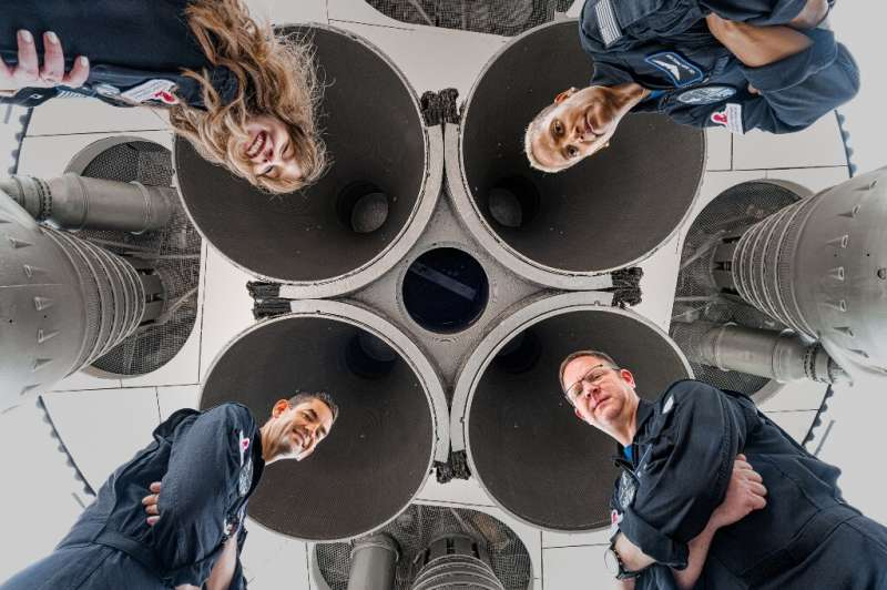 The crew of Inspiration4: Hayley Arceneaux (top left), Sian Proctor (top right), Chris Sembroski (bottom right) and Jared Isaacm