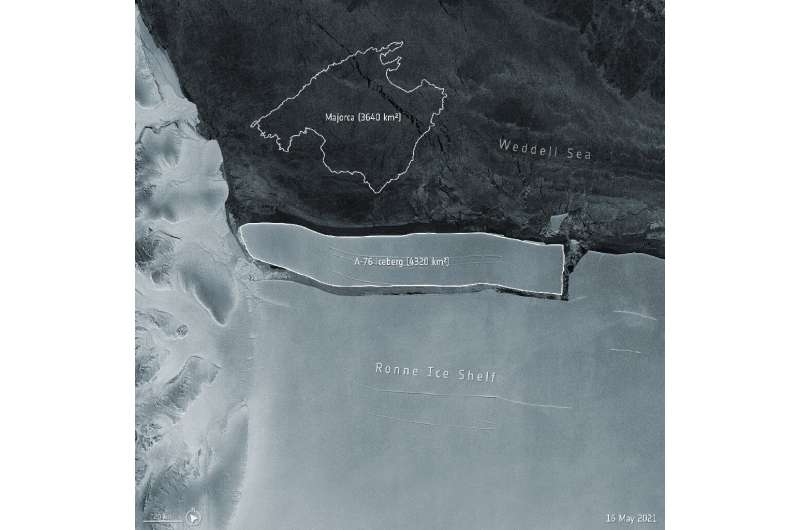 The iceberg, dubbed A-76, measures around 4320 sq km in size – currently making it the largest berg in the world