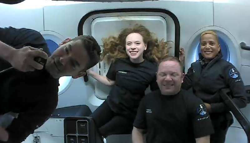 The Inspiration4 crew (L-R): Jared Isaacman, Hayley Arceneaux, Chris Sembroski and Sian Proctor