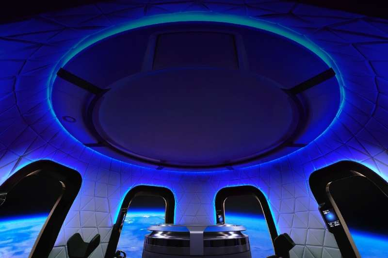 The interior of the Blue Origin crew capsule—an unnamed bidder has paid $28 million for a seat on board, alongside Jeff Bezos