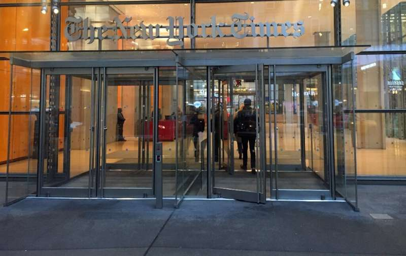 The main entrance to the New York Times headquarters is seen on December 13, 2019