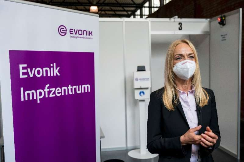 The makeshift vaccination centre at chemicals group Evonik's Hanau site, near Frankfurt, is one of several pilot projects in Ger