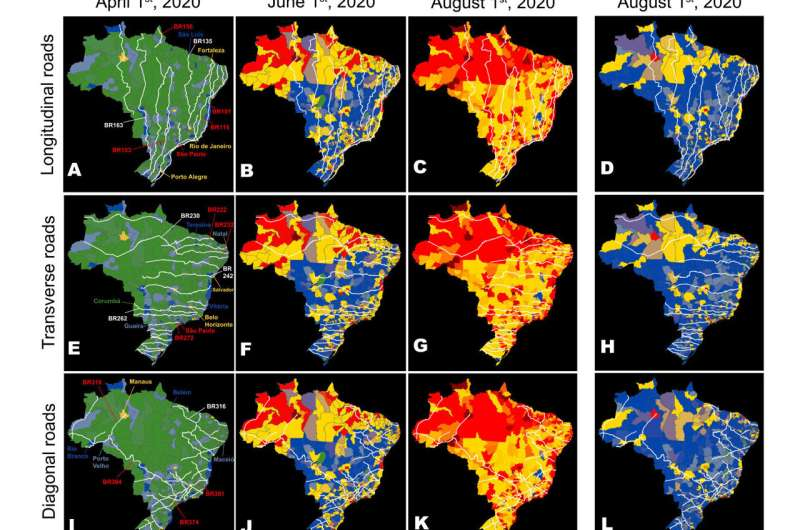 The paths through which COVID-19 spread across Brazil