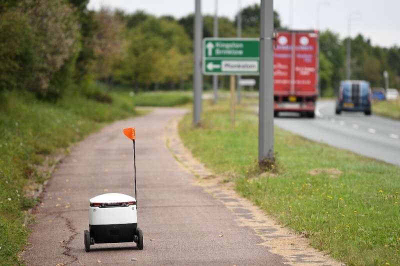 The six-wheeled automated vehicles can navigate footpaths to reach their destination