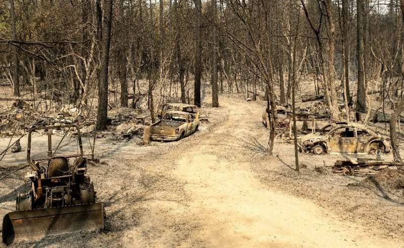 The small community of Berry Creek lies on a California hillside charred by the huge September 2020 fire, which devastated the a