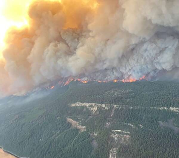 The Sparks Lake wildfire is seen in British Columbia on June 29, 2021