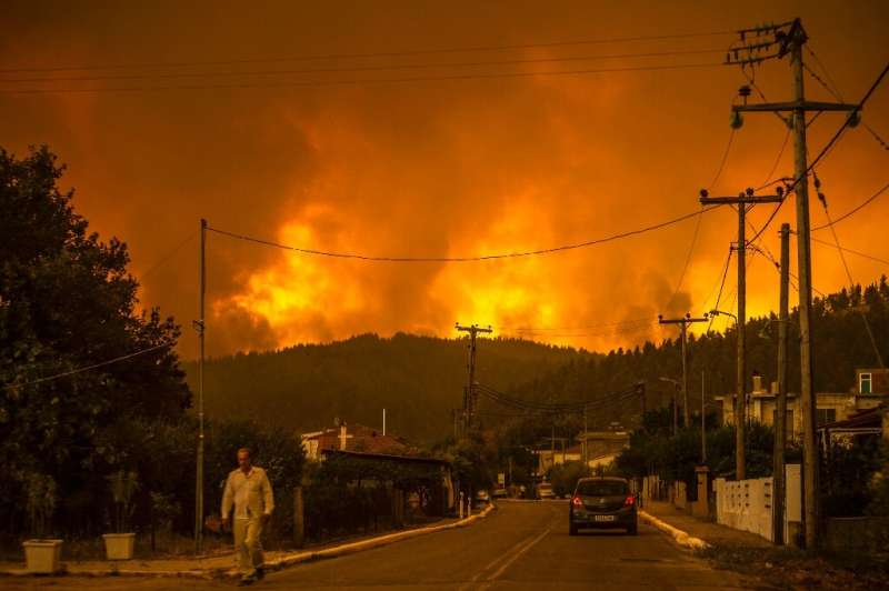 The thick pine forests on Evia which made it appealing to tourists have turned in into a nightmare for firefighters.