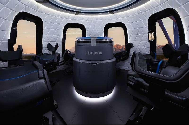 The view inside the Blue Origin capsule, which has six seats and six large windows